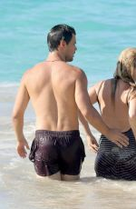 BILLIE LOURD and Taylor Lautner at a Beach in St. Barts 04/09/2017