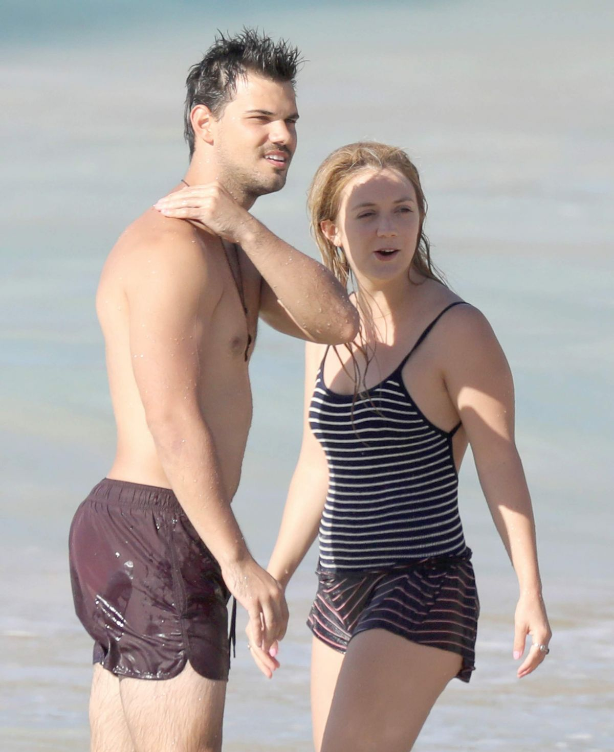 Billie Lourd And Taylor Lautner At A Beach In St Barts 04