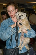 BRTTANY SNOW with Her Dog at LAX Airport in Los Angeles 04/07/2017