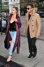 CHRISSY TEIGEN in Ripped Jeans Out in New York 04/26/2017