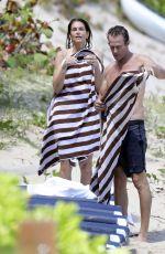 CINDY CRAWFORD in Bikini on the Beach in St. Barts 04/04/2017