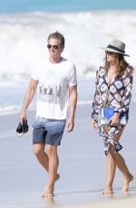 CINDY CRAWFORD Out Walk at a Beach in St. Barts 04/05/2017