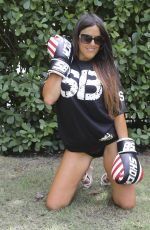 CLAUDIA ROMANI on the Set of a Photoshoot with Boxing Gloves in Miami 04/02/2017