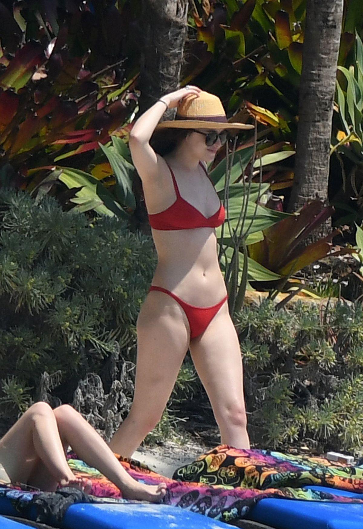 DAKOTA JOHNSON in Red Bikini at a Beach in Miami 03/31/2017