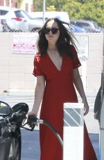 DAKOTA JOHNSON in Red Dress Out in Los Angeles 04/22/2017