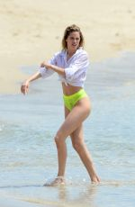 DOUTZEN KROES in Bikini Bottom on the Set of a Photoshoot at a Beach in Bal Harbour 04/24/2017