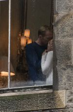 ELIZABETH OLSEN adn Paul Bettany on the Set of Avengers: Infinity War in Edinburgh 04/19/2017