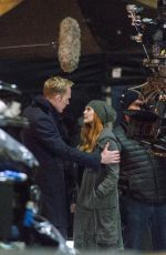 ELIZABETH OLSEN adn Paul Bettany on the Set of Avengers: Infinity War in Edinburgh 04/21/2017