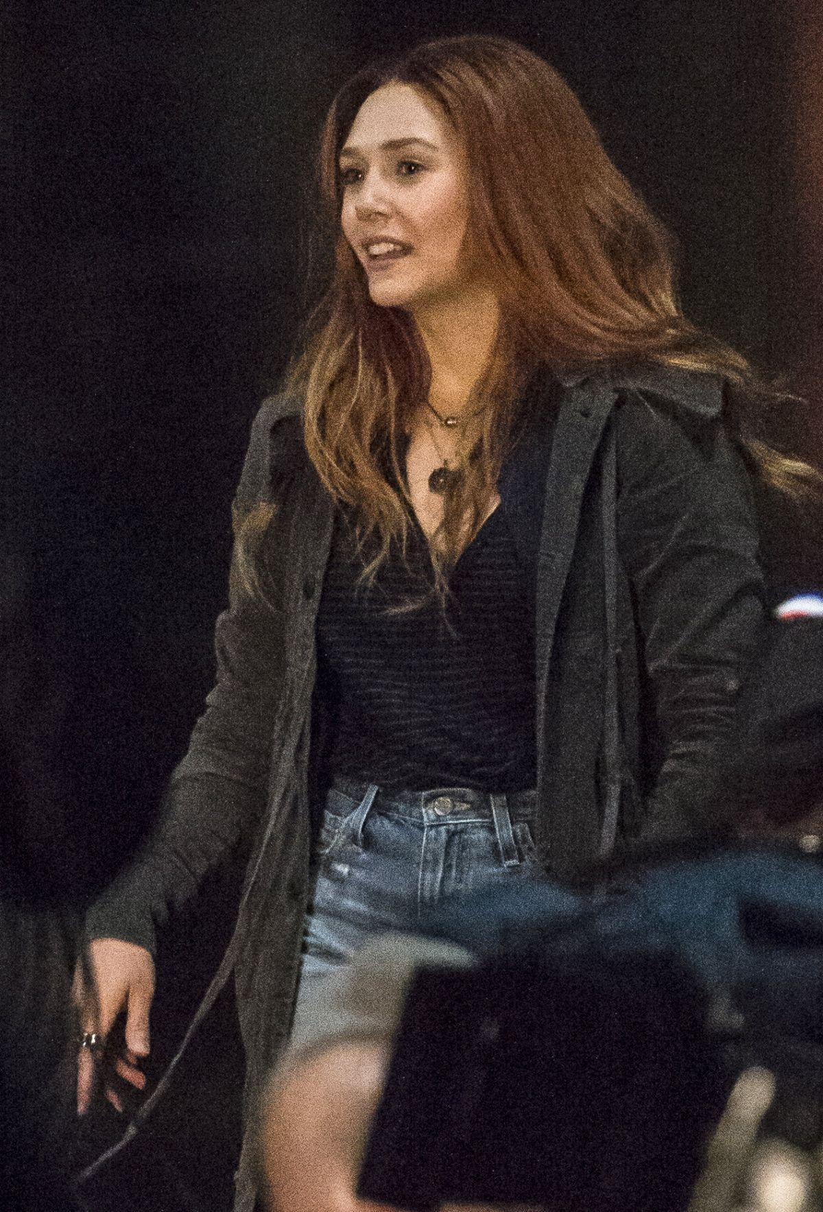 ELIZABETH OLSEN on the Set of Avengers: Infinity War 04/01/2017