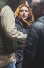 ELIZABETH OLSEN on the Set of Avengers: Infinity War in Edinburgh 04/01/2017