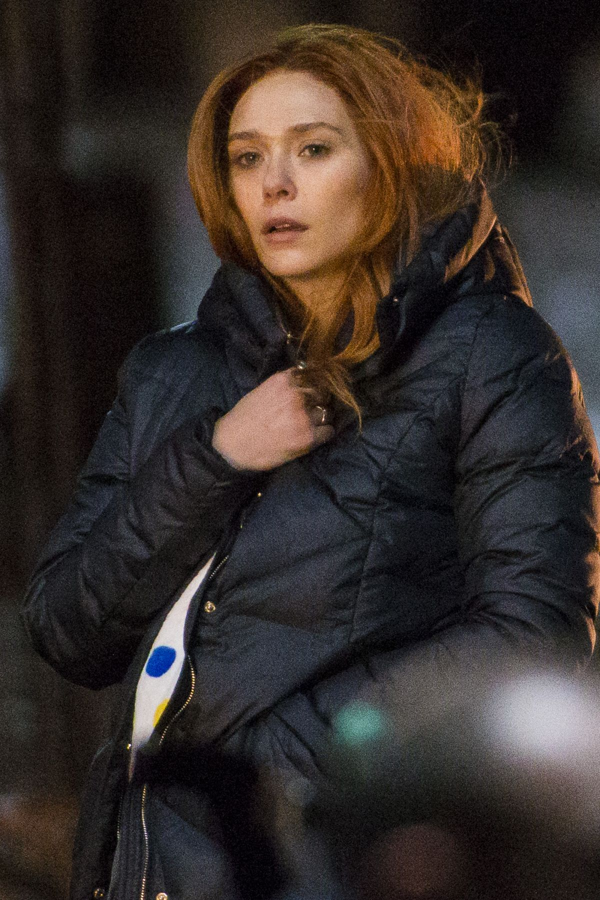 ELIZABETH OLSEN on the Set of Avengers: Infinity War in Edinburgh 04/05/2017