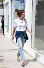 EMMA ROBERTS in Ripped Jeans Out in Los Angeles 04/12/2017