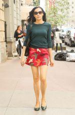 FAMKE JANSSEN in Short Skirt Out in New York 04/17/2017