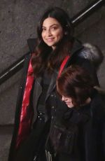 FLORIANA LIMA and CHYLER LEIGH on the Set of Supergirl in Vancouver 04/26/2017