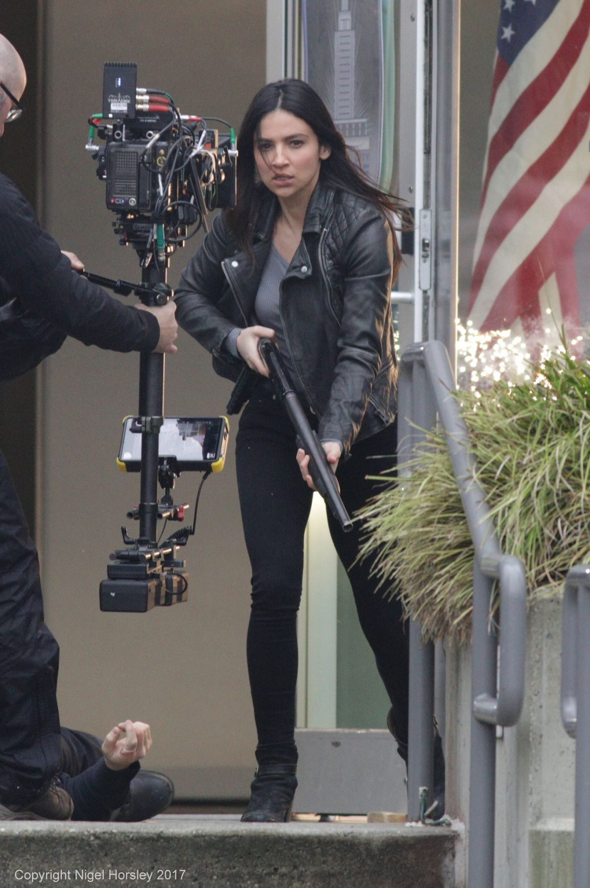 FLORIANA LIMA on the Set of Supergirl in Vancouver 04/07/2017