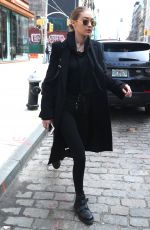 GIGI HADID All in Black Out in New York 04/03/2017