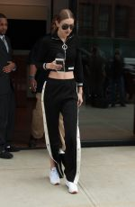 GIGI HADID in Crop Top Out in New York 04/14/2017