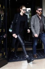 GIGI HADID Leaves Her Hotel in Paris 04/05/2017