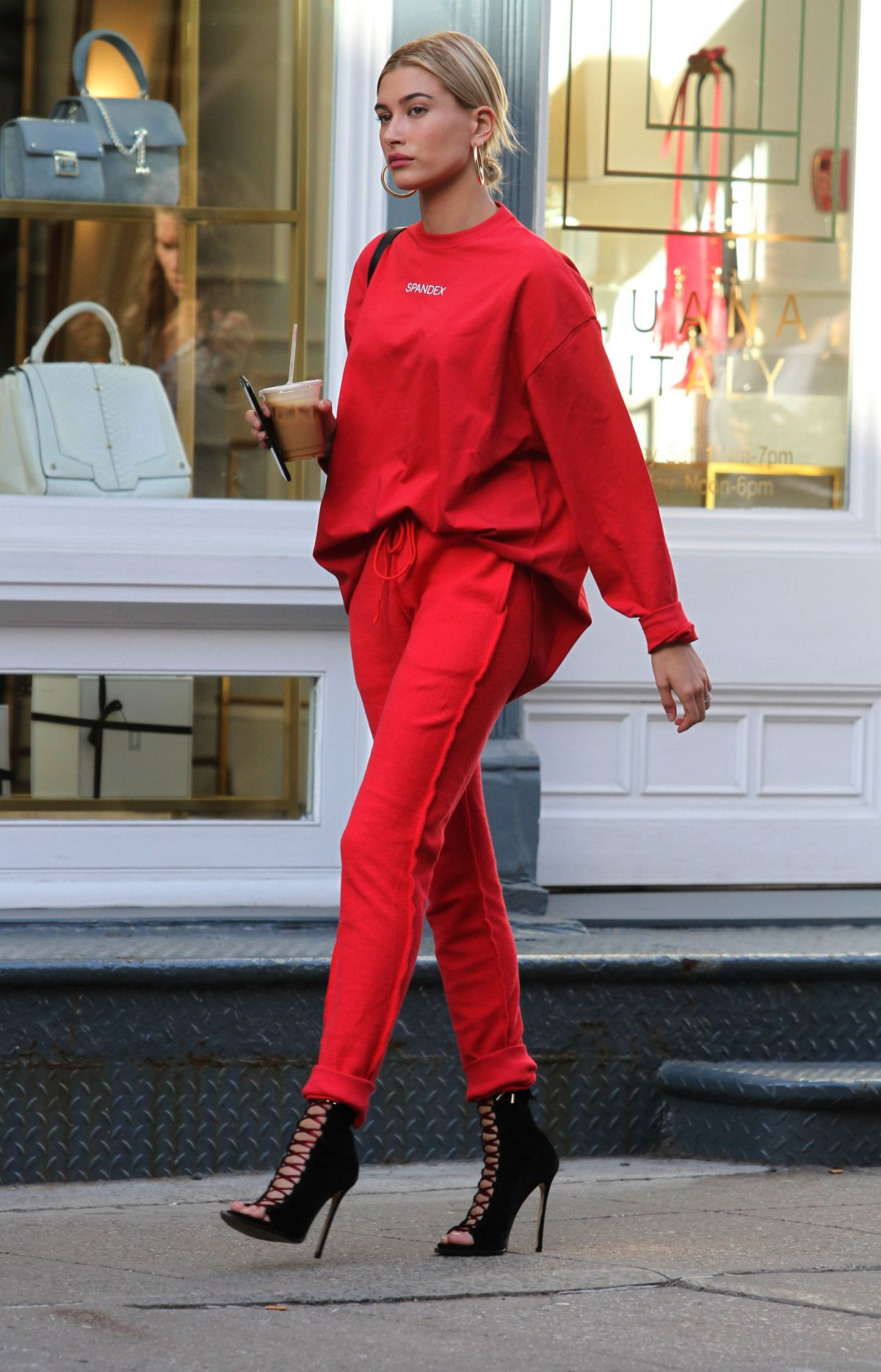 HAILEY BALDWIN All in Red Out in New York 04/28/2017