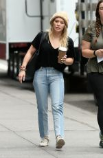 HILARY DUFF Arrives on the Set of Younger in New York 04/17/2017