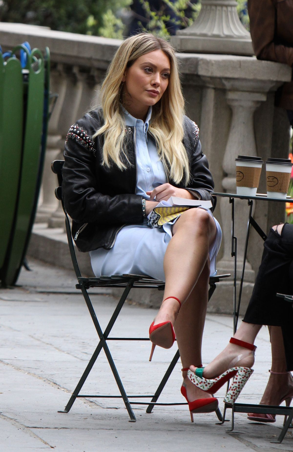 HILARY DUFF on the Set of Younger in Bryant Park in New York 04/24/2017