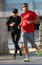 HILARY DUFF Out Jogging on Hudson River in New York 04/17/2017