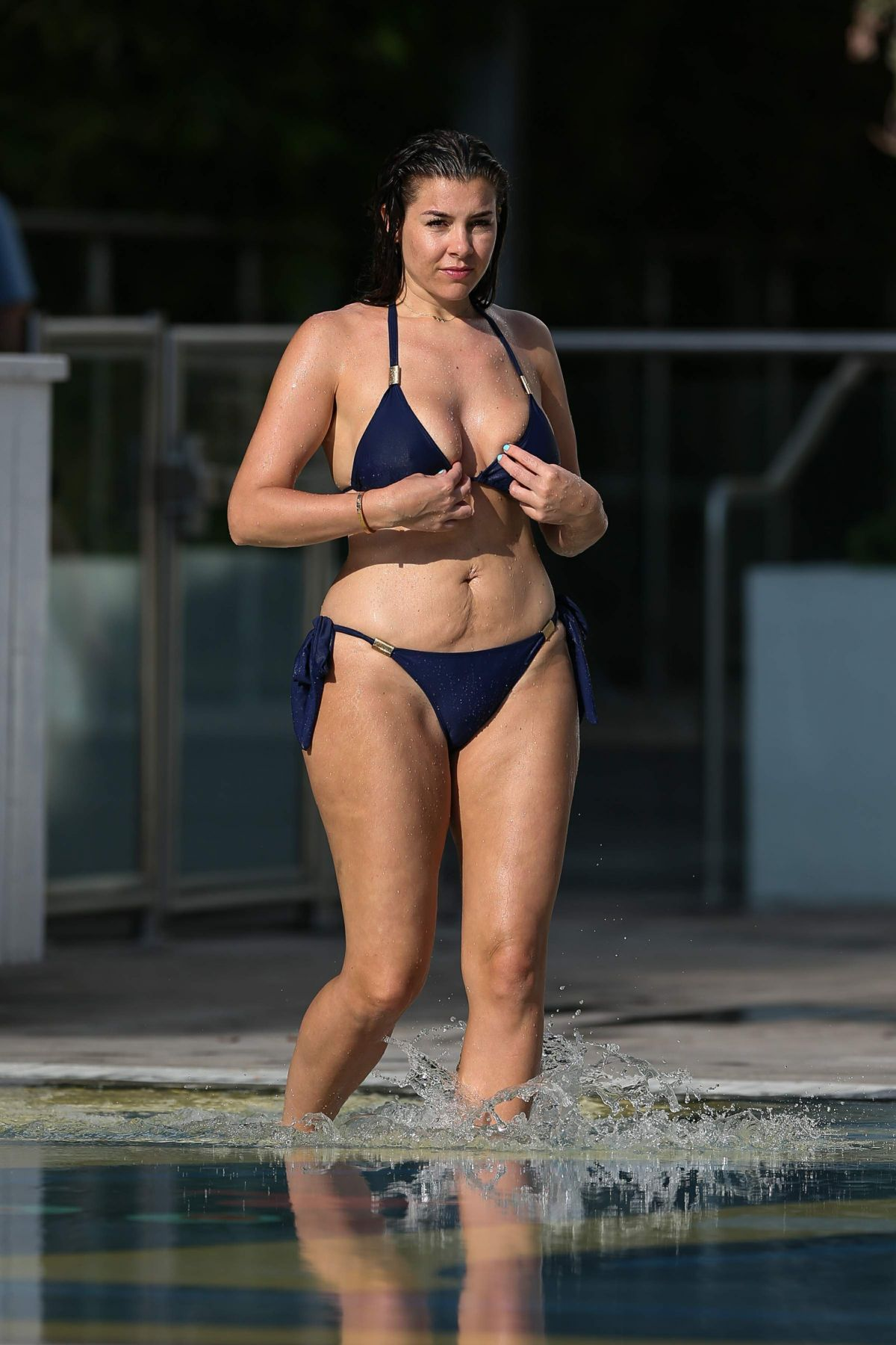IMOGEN THOMAS in Bikini at a Pool in Madrid 04/23/2017