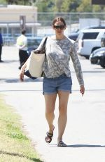 JENNIFER GARNER in Denim Shorts Out in Brentwood 04/21/2017