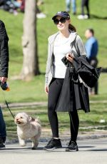 JESSICA CHASTAIN Walks Her Dog Out in Central Park in New York 04/09/2017