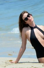 JOY CORRIGAN in Swimsuit at a Beach in Miami 04/27/2017