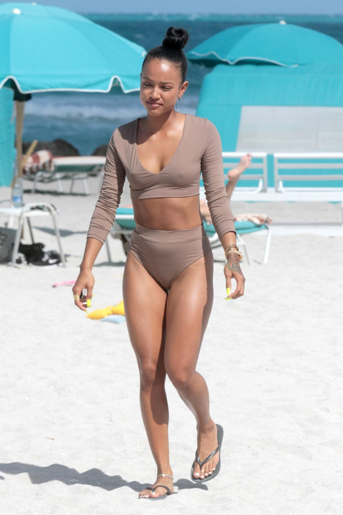 KARREUCHE TRAN in Tankini on the Beach in Miami 04/15/2017