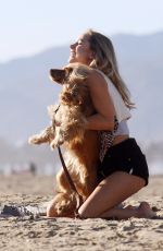 KIMBERLEY GARNER Walks Her Dog on the Beach in Santa Monica 04/12/2017