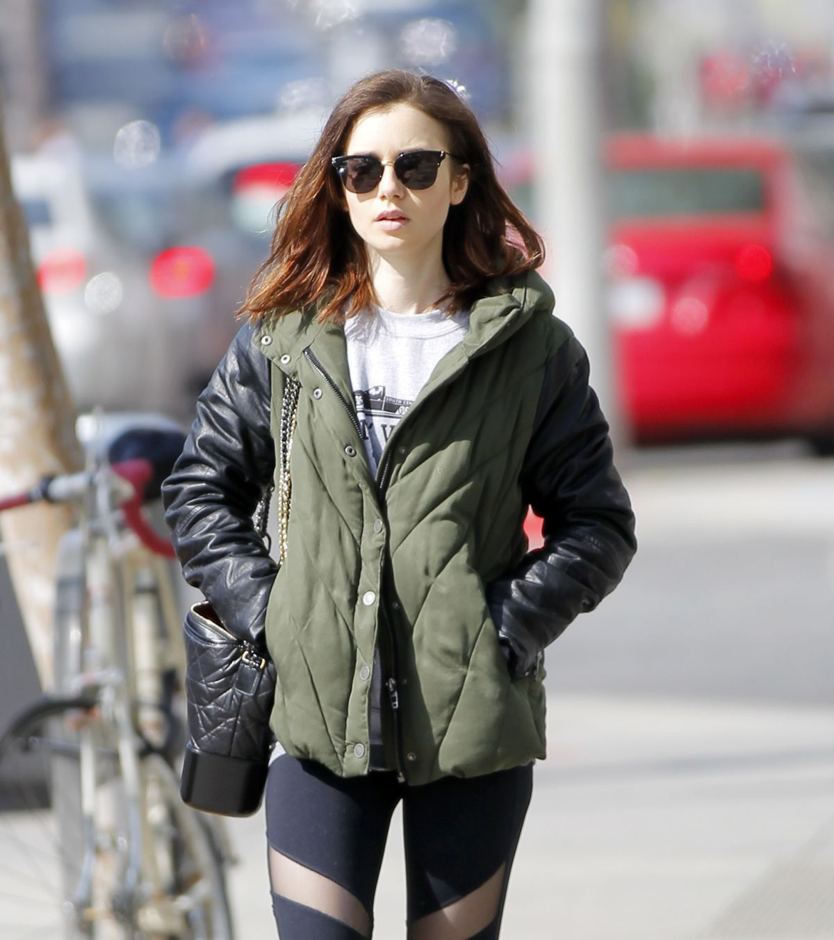 LILY COLLINS After Workout in Beverly Hills 04/11/2017