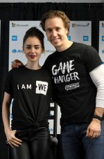 LILY COLLINS and Craig Kielburger at We Day in Seattle 04/21/2017