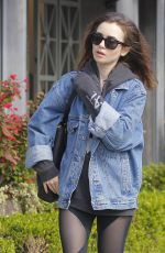 LILY COLLINS Arrives at a Salon in Beverly Hills 04/06/2017