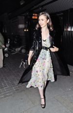 LILY COLLINS at Chiltern Firehouse in London 04/18/2017