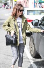 LILY COLLINS Leave a Gym in West Hollywood 04/24/2017