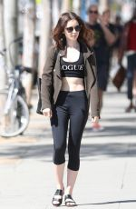 LILY COLLINS Leaves a Gym in West Hollywood 04/29/2017