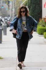 LILY COLLINS Out in Beverly Hills 04/08/2017