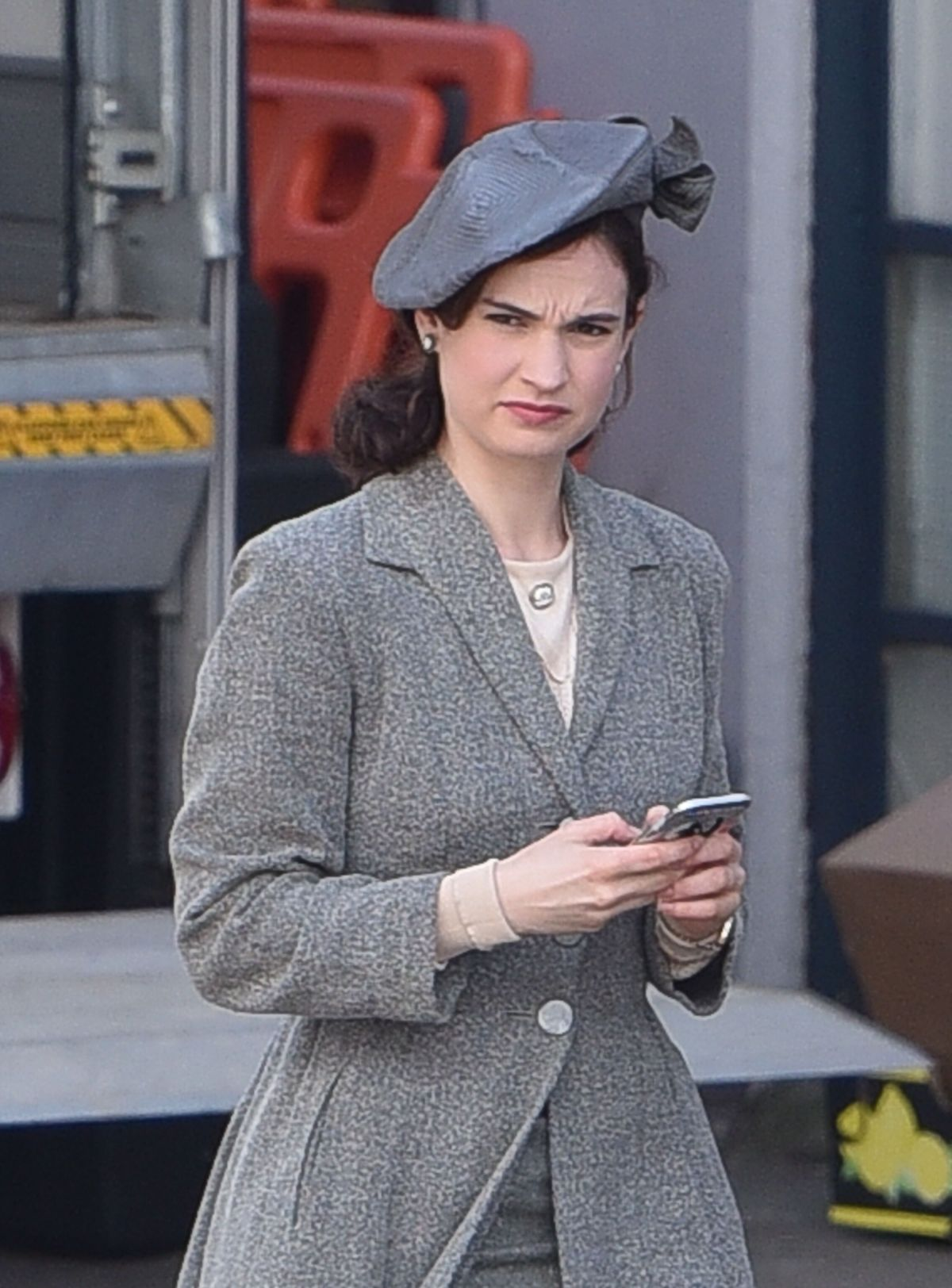 LILY JAMES on the Set of Guernsey in Bristol 04/26/2017