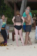 LINDSAY LOHAN in Swimsuit on the Beach in Phuket 03/29/2017