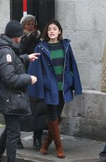 LUCY HALE on the Set of Life Sentence Pilot in Montreal 04/01/2017