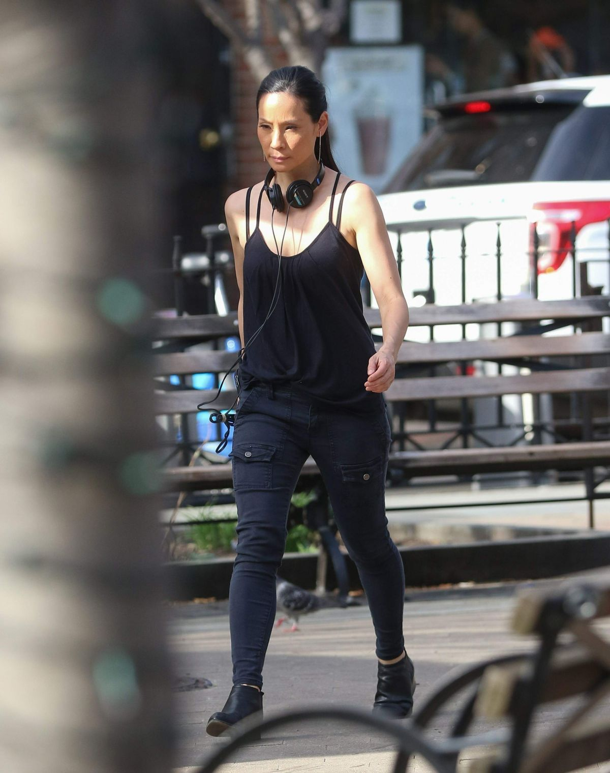 LUCY LIU on the Set of Elementary in West Village 04/11/2017
