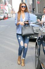 MARIA MENOUNOS in Ripped Jeans Out in New York 04/11/2017