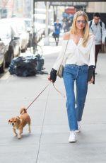 MARTHA HUNT Walks Her Dog in New York 04/10/2017