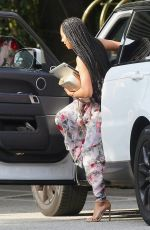 MELANIE BROWN in Floral Print Maxi Dress Out in Los Angeles 04/07/2017