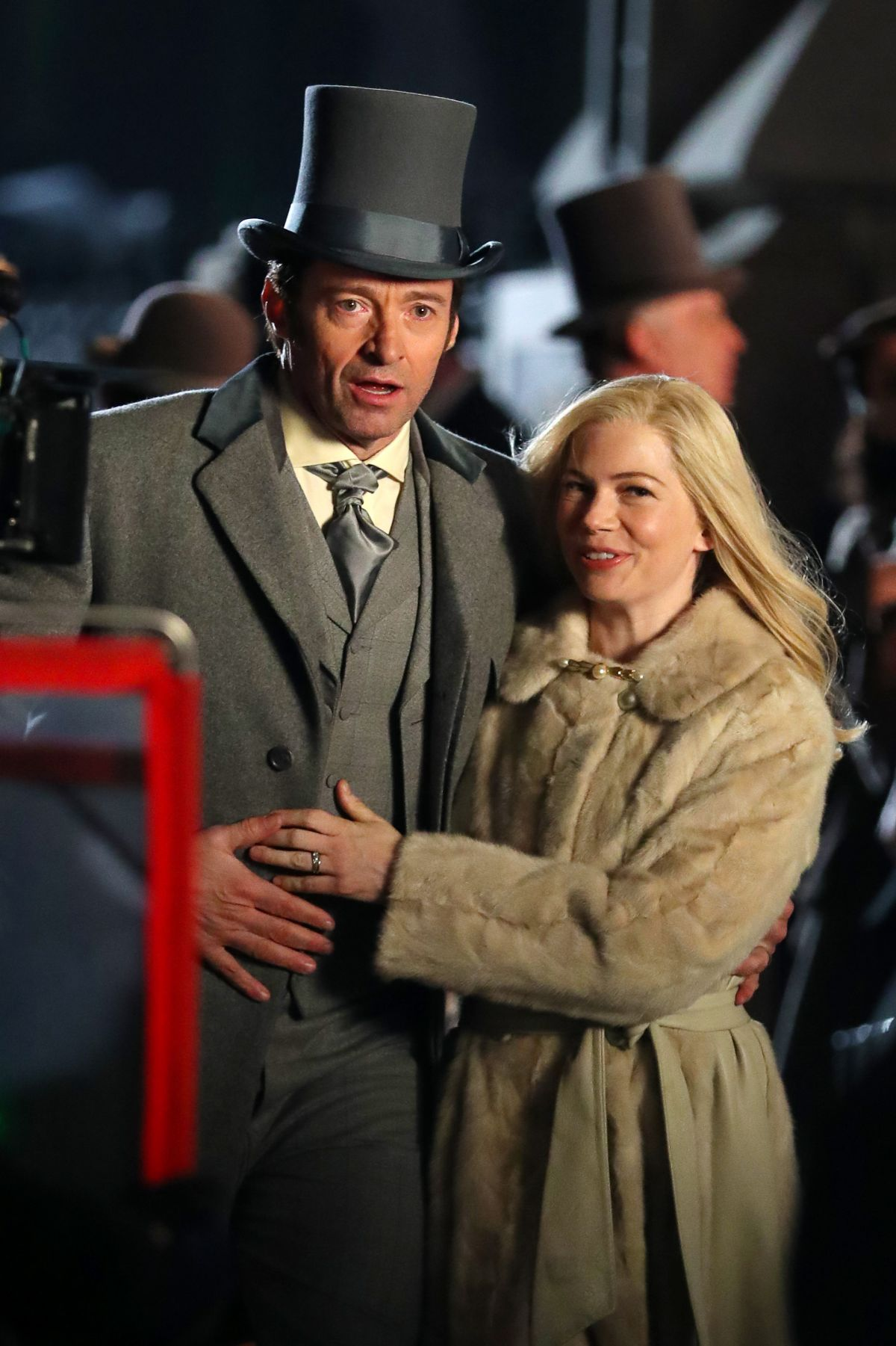 MICHELLE WILLIAMS and Hugh Jackman on the Set of The Greatest Showman 04/06/2017