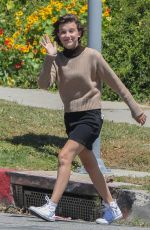 MILLIE BOOBY BROWN on the Set of Black Dhalia House in Los Angeles 04/20/2017