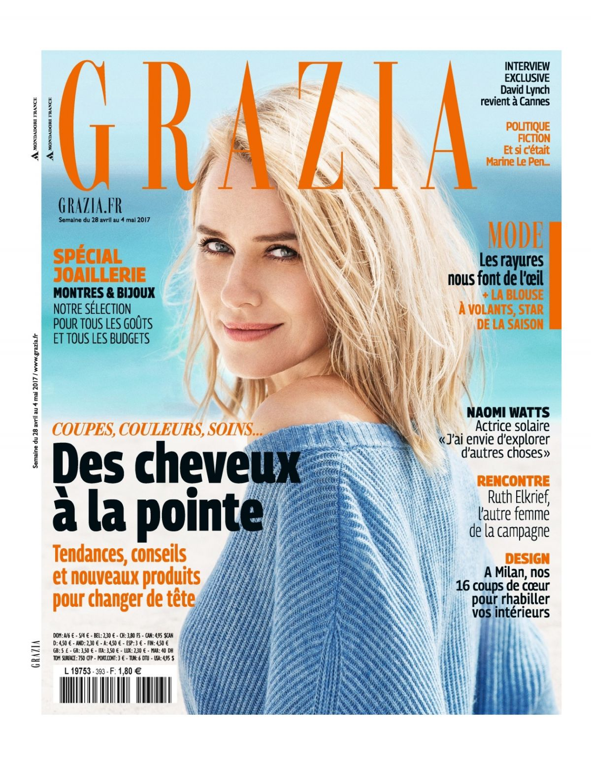 NAOMI WATTS in Grazia Magazine, France May 2017 Issue