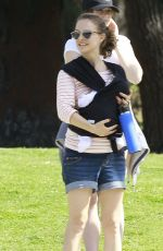 NATALIE PORTMAN in Denim Shorts Out in Public with Baby Amalia in Los Feliz 04/05/2017